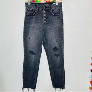 FREE PEOPLE high rise button up distressed jeans